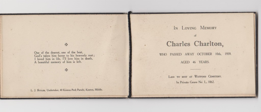 Charlie Charlton's remembrance card