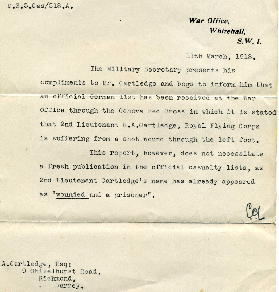 The official notification of Reginald's capture, send to his father from the War Office