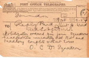 Telegram, 4 Aug 1914, report without horse