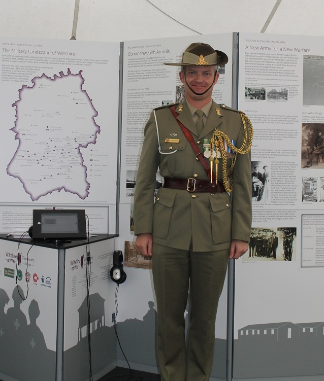 Major Peter Meakin of the Australian Army in front of the Wiltshire at War: The Call to Arms exhibition, Sutton Veny.