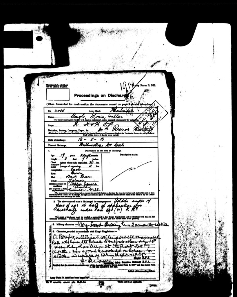 Louis Gough's discharge papers