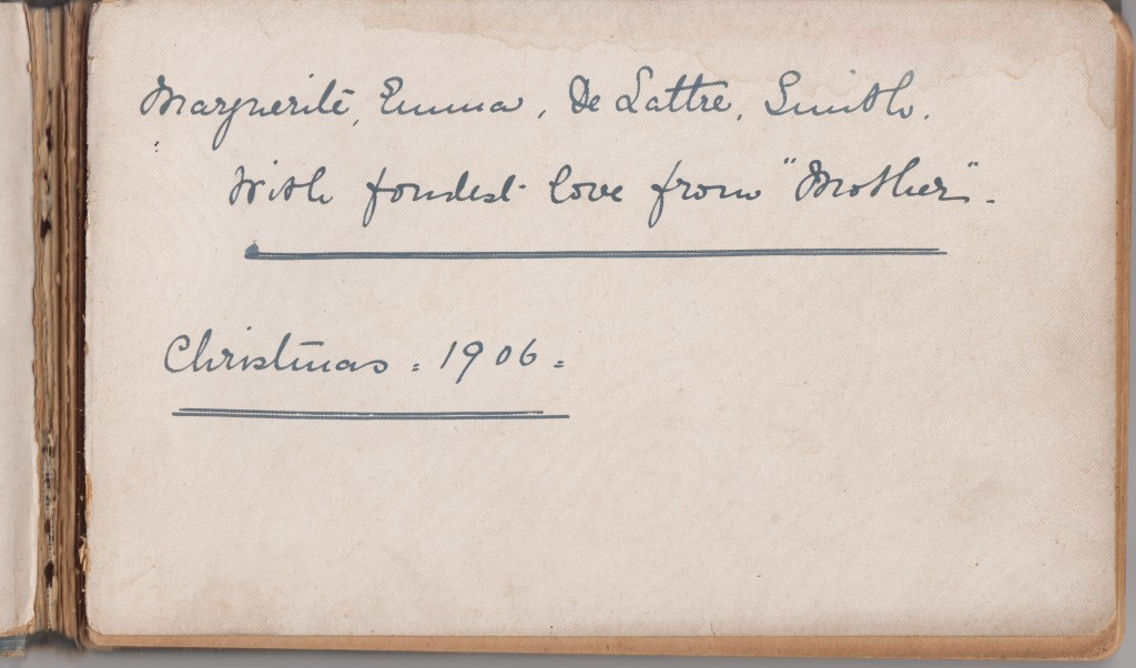 Wartime entries in Margeurite Smith's autograph book