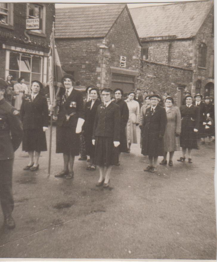 Royal British Legion, Cross Hayes, 1952. Elsie is bearing the standard.