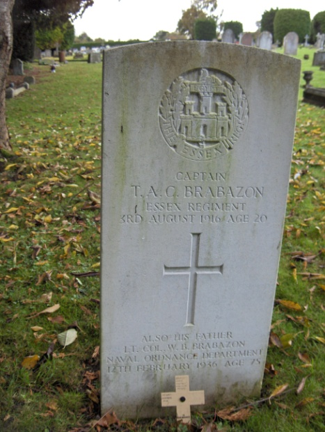 The grave of Captain Terence Anthony Brabazon in Wilton Cemetary. (d. 1916, aged 20)
