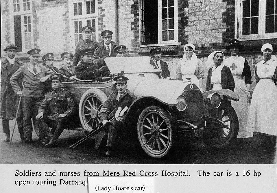 Soldiers and nurses outside Mere Hospital with Lady Hoare's motor car.