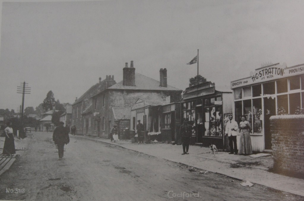 Shack-shops in the centre of Codford village during WWI.