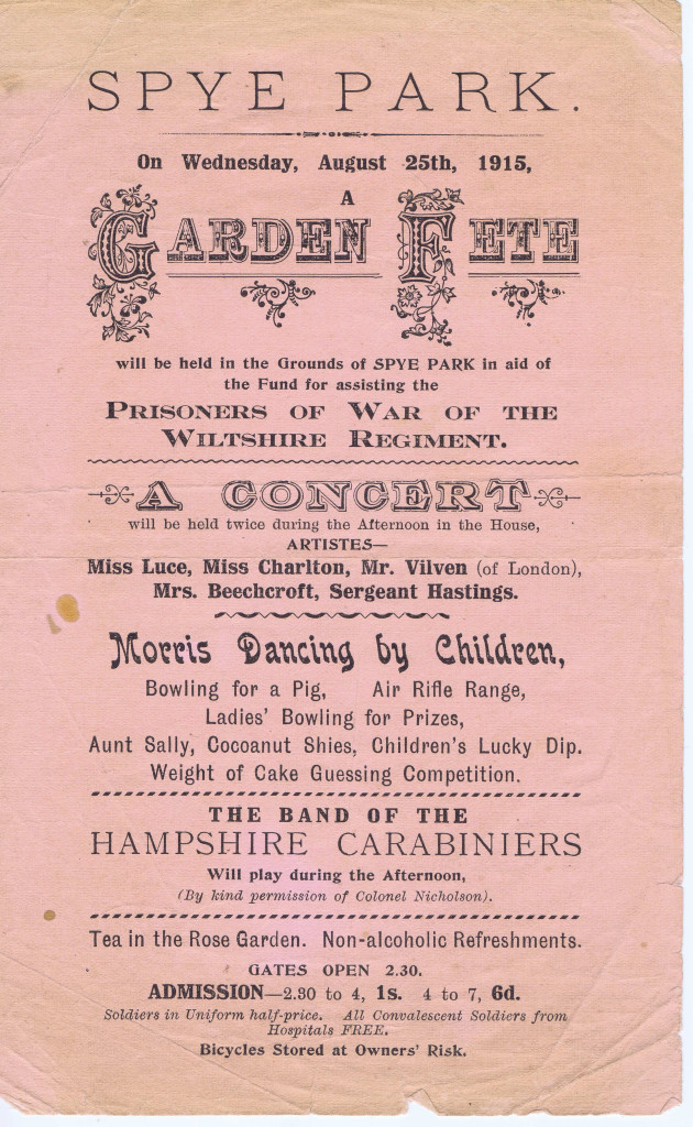The Fund for Prisoners of War of The Wiltshire Regiment holds a fundraising concert at Spye Park, a large country house near Lacock.