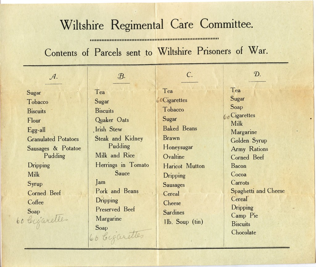 The Wiltshire Regimental Care Committee offers four choices of parcel content. Relatives select the option that they feel will best suit their man.