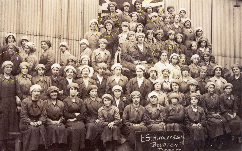 The Farthing Sisters and Yeatman Sisters, with fellow munitions workers at Bourton Mills