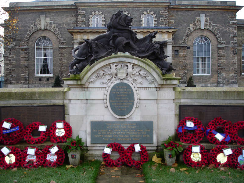 The memorial, in the Market Place in front of the Guildhall, Salisbury. The O/S grid position is SU 14486 East 30036 North.
