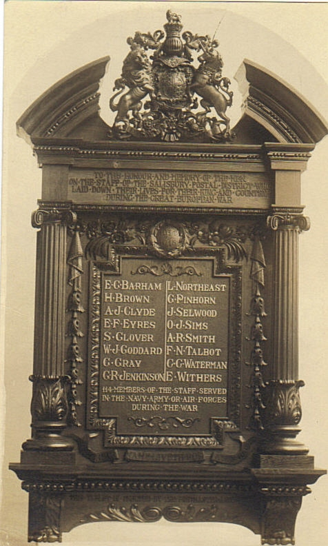 Memorial in honour of postal workers, showing Ernest Withers' name. Salisbury Postal Sorting Office.