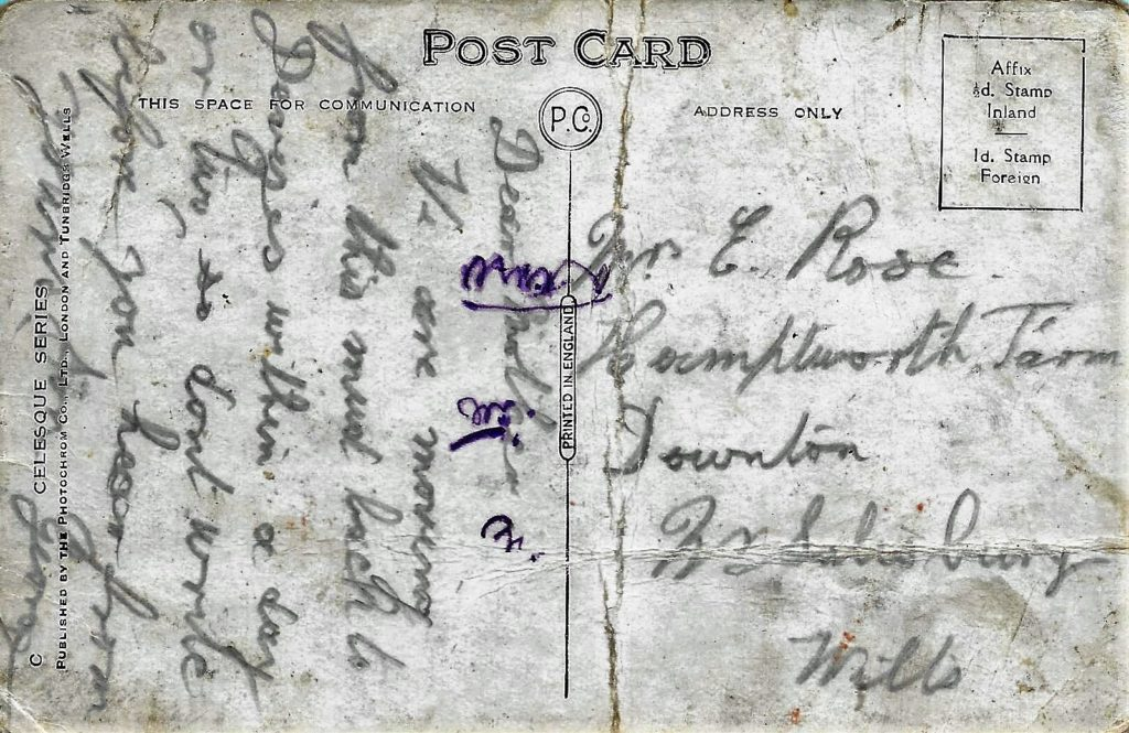 Back of postcard sent to his mother.