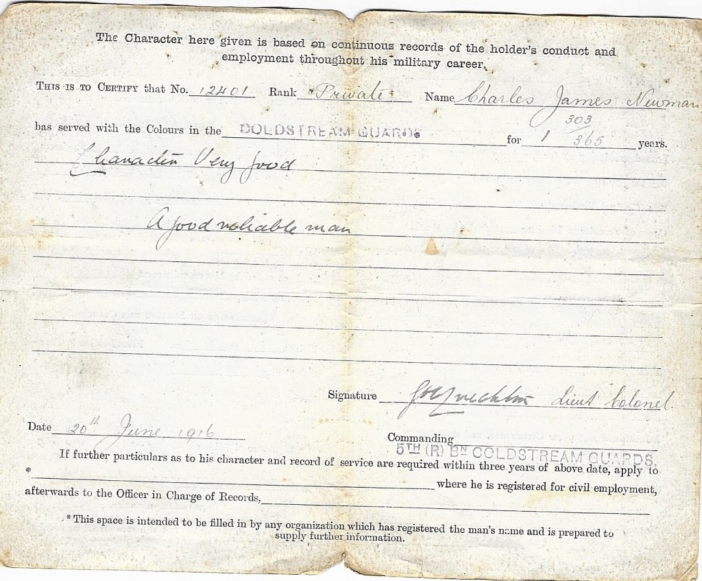 Charles James Newman Discharge Papers