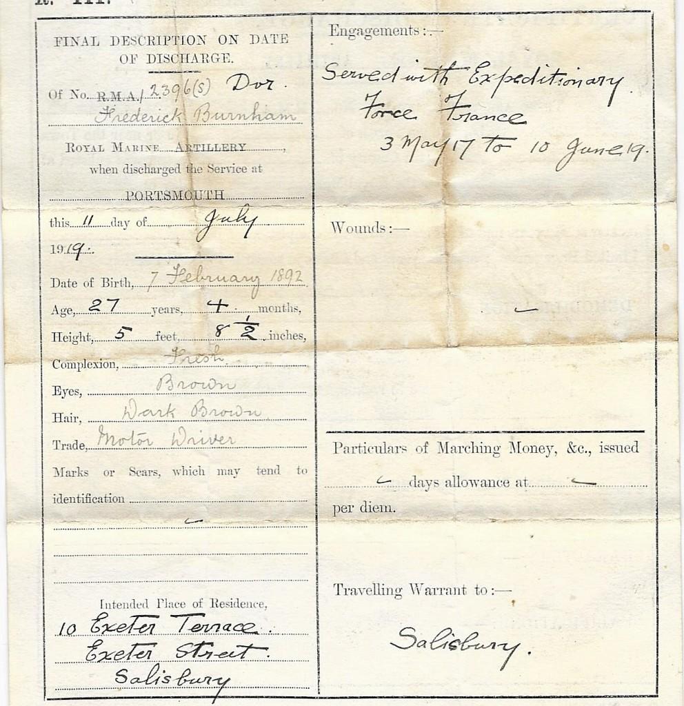 Frederick Burnham Discharge Paper 2