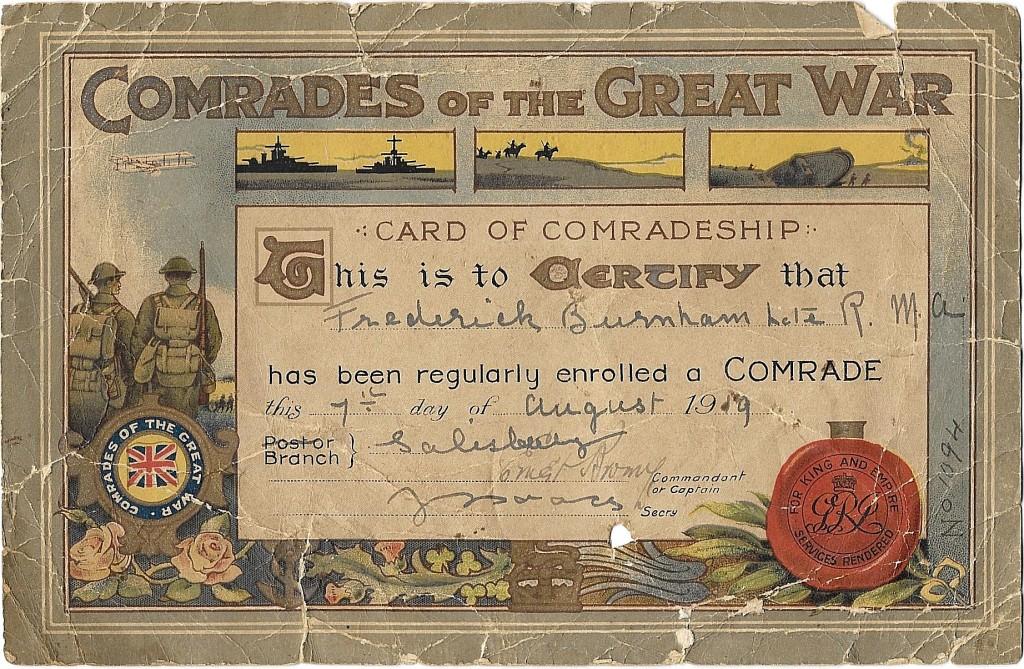 Frederick Burnham – Certificate of Comradeship