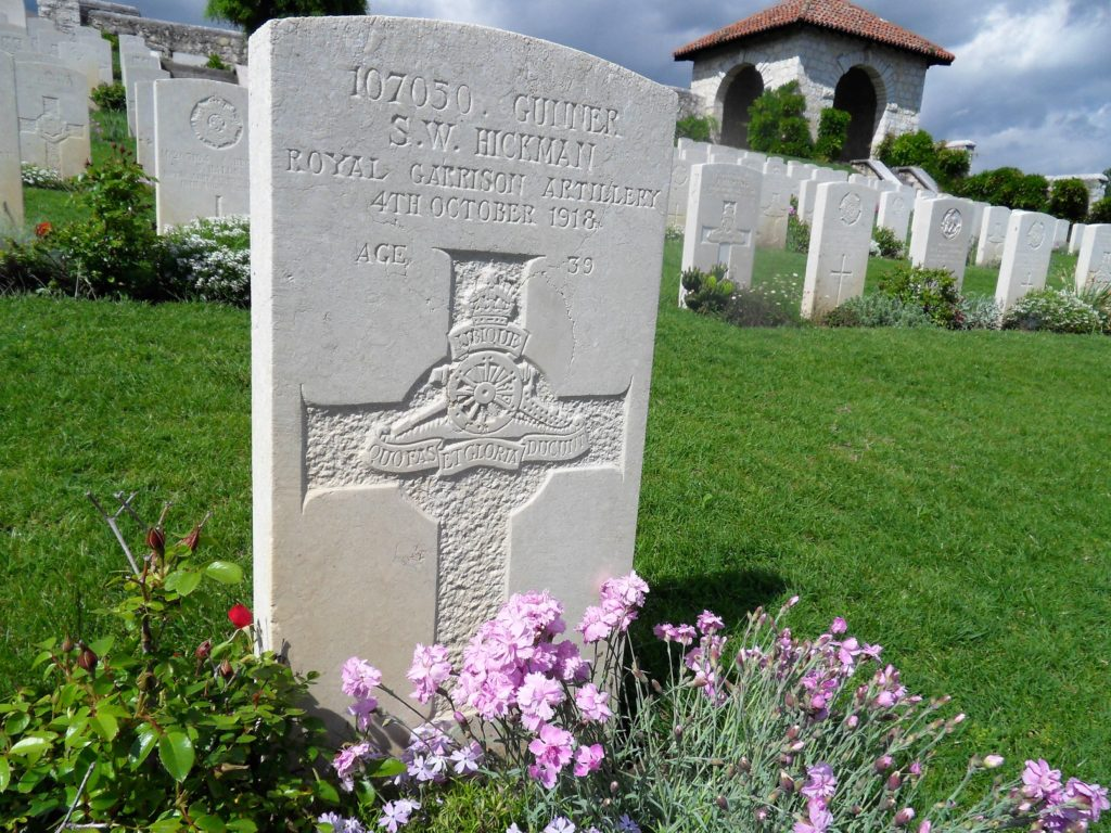 Sidney Hickman's War Grave Memorial at Montecchio Precalcino Communal Cemetery Extension, Italy