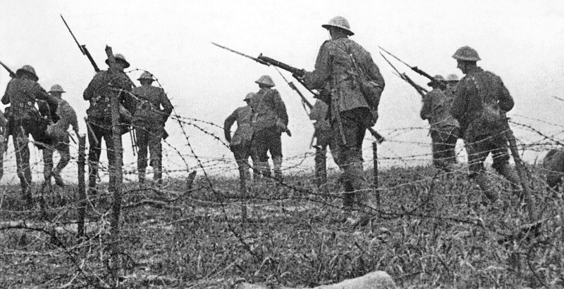 Screenshot of troops advancing (staged for the film)