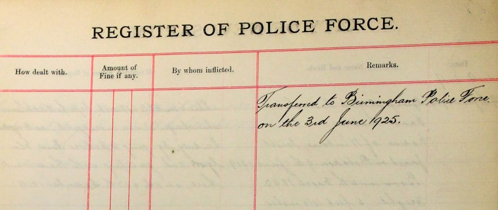Salisbury Police Force Register - Florence Mildred White pg.2. (F5/905/5) With permission of Wiltshire and Swindon History Centre.