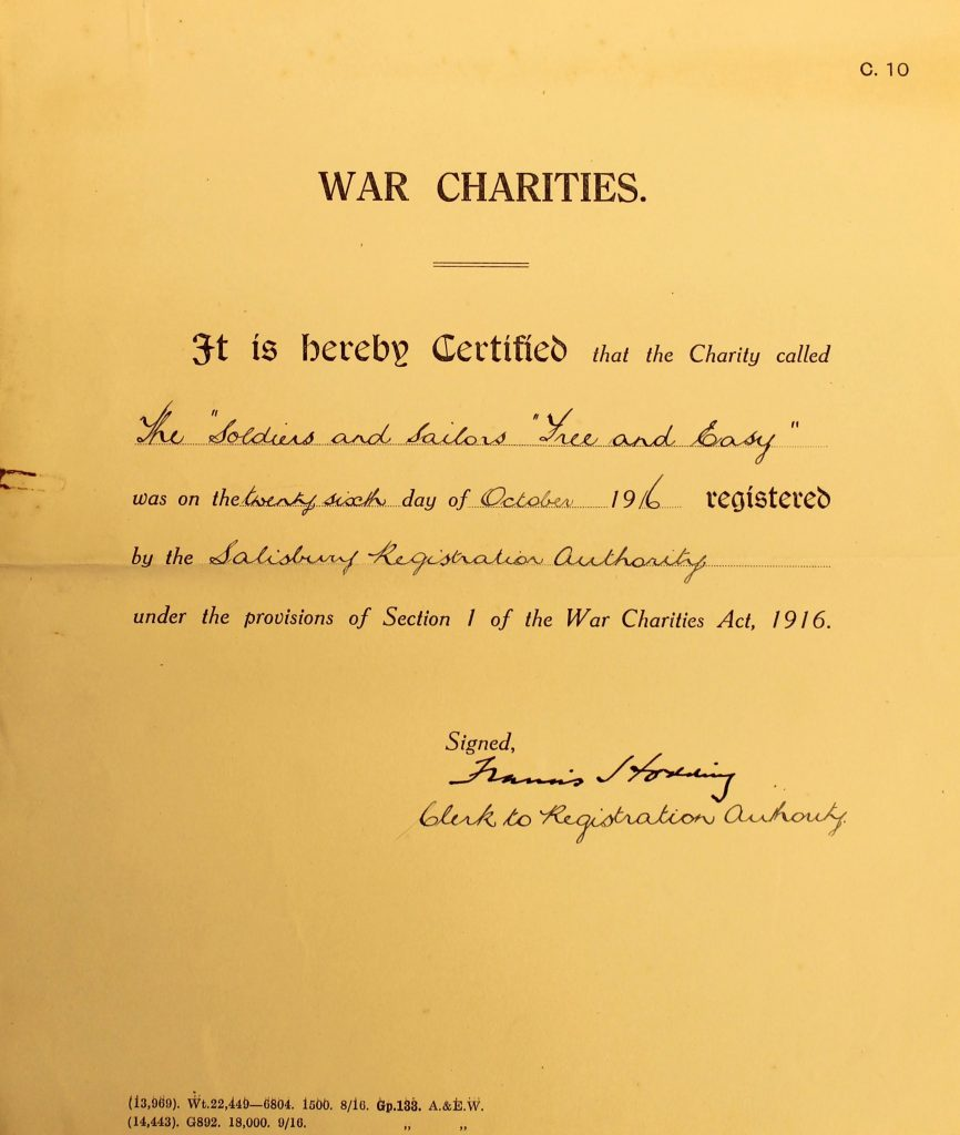 "War Charities Certificate for ""Soldiers and Sailors Free and Easy"" (G23/990/6 With permission of Wiltshire and Swindon History Centre)"