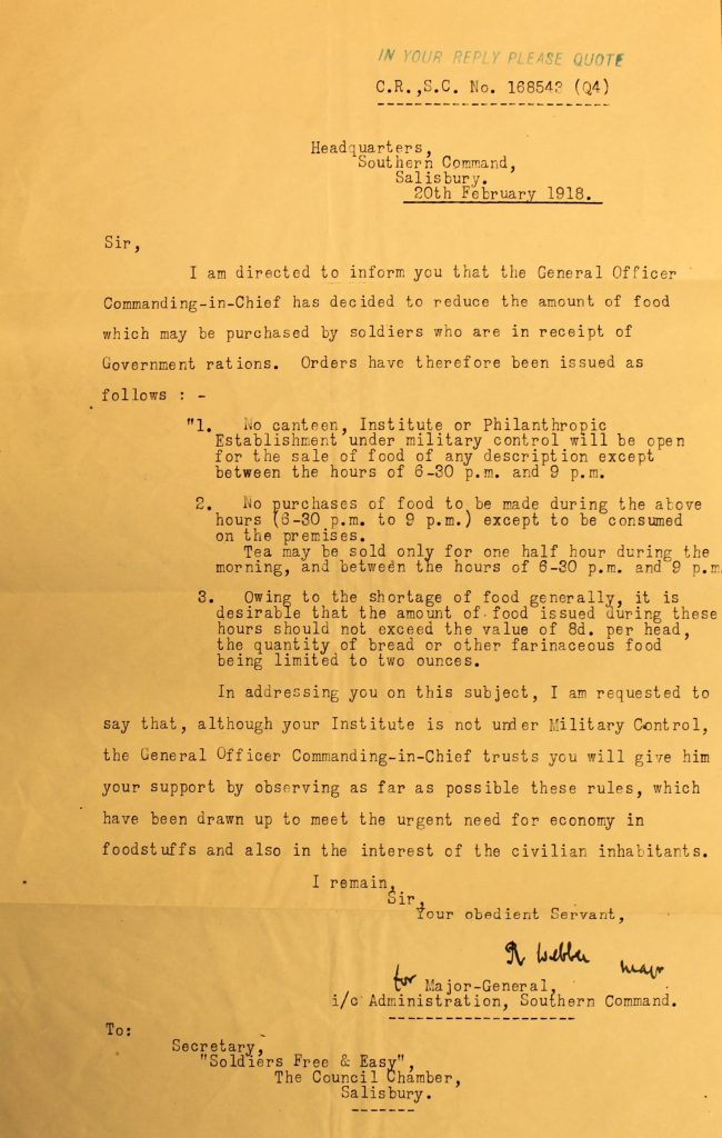 Letter from Heaquarters of the Southern Command, Salisbury 20 February 1918. (G23/990/6 With permission of Wiltshire and Swindon History Centre)