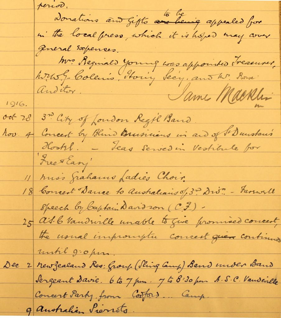The first Minutes of the committee 26 October 1916