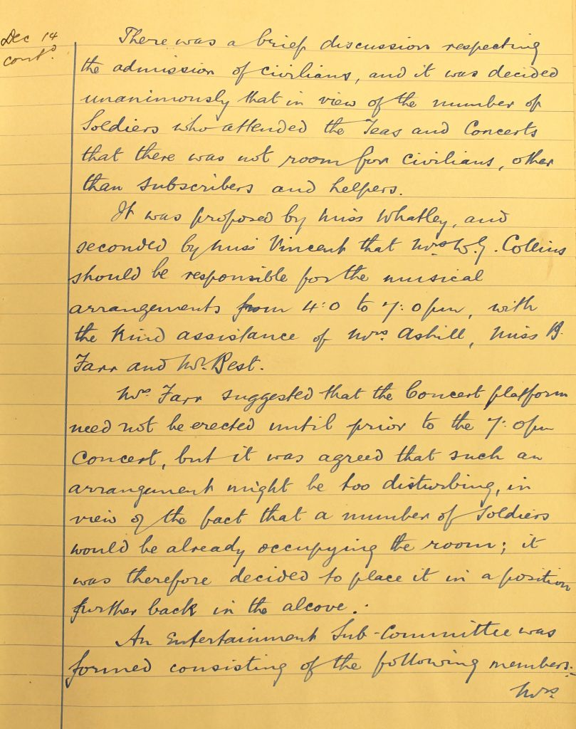 Minutes 14 December 1916 (G23/990/6 With permission of Wiltshire and Swindon History Centre)